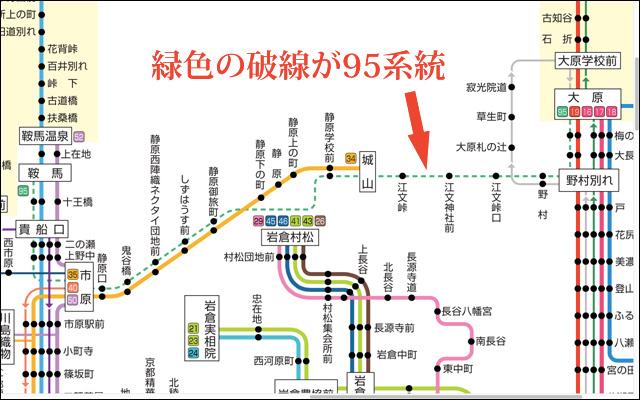 見やすくてかっこいい路線図。「京都バス運行系統図」より