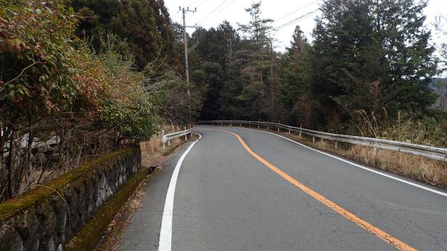 曇っていたのもあって、薄暗くて不気味な山道