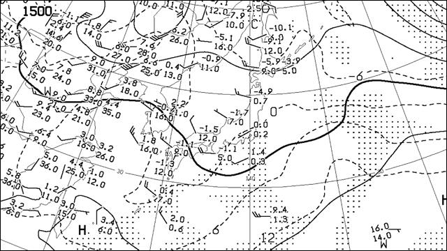 850ヘクトパスカルの天気図。気温や風など。左上に見える「1500」が高さを表している。