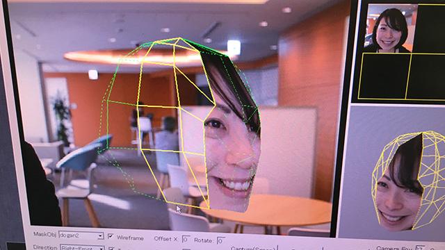 3Dのデータの表面に写真が貼りついていく