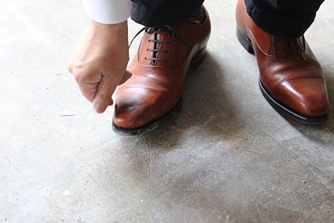 わりとしっかりダメージを受けていた靴。