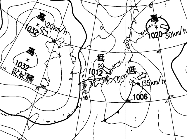 2009年4月1日午後。気象庁天気図