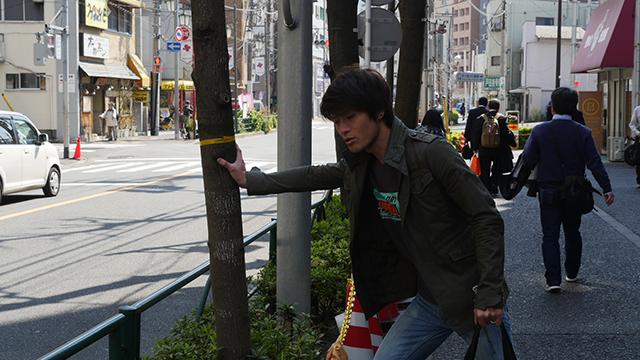 ためしに街路樹を押してみる安藤「ゆっさゆっさしておもしろいよ」というこれか