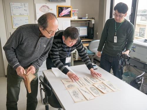 さっそく鑑賞。中央は研究員で獣医学博士の巌城さん。