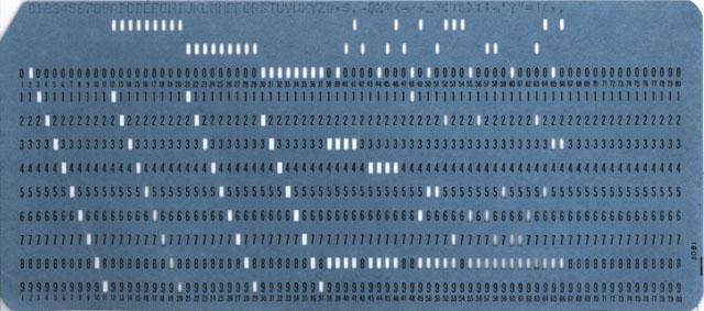 パンチカードの一例(Wikipedia</a>より)
