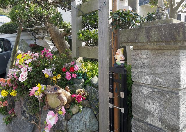 かつて使っていたと思われるフェンスの柱になぜか乗っている。ひとり。奥には堂々としたカエル。