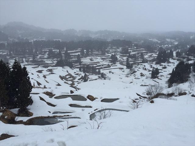棚田の名所「星峠」も雪化粧で真っ白に。