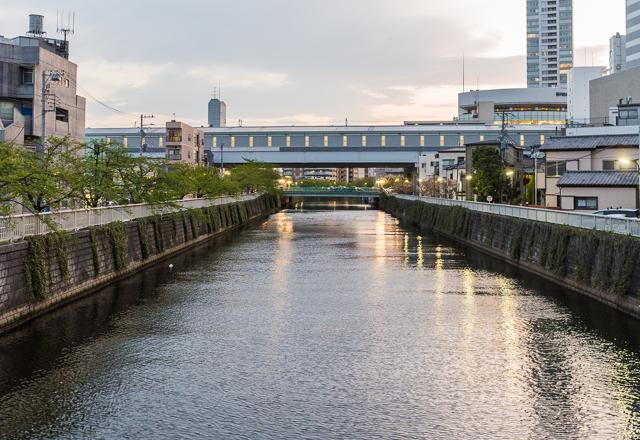 川を跨いでいる、覆われた橋のようになっているのが新馬場駅。川は目黒川。