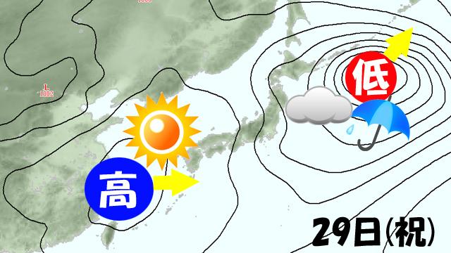 ゴールデンウィーク(GW)初日の29日(祝)。高気圧がさっさと来てくれるか!?
