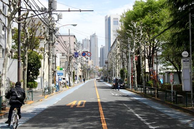 新宿新都心に向かって約4km、ほぼ一直線の道路が通っているのです