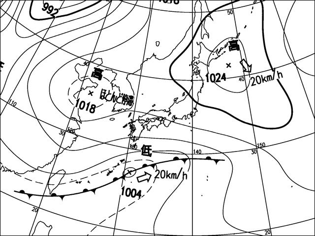 2012年5月21日。気象庁天気図