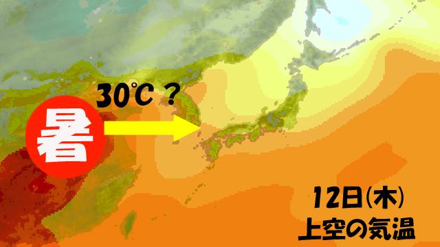 鉄板のように暖まりはじめた大陸で、ジュージューと熱せられた空気が、今週後半にやってくる。
