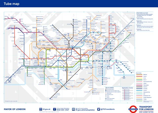 ふつうの路線図に見えますが、実はこれ革命的なのです。https://tfl.gov.uk/maps/track/tube より。