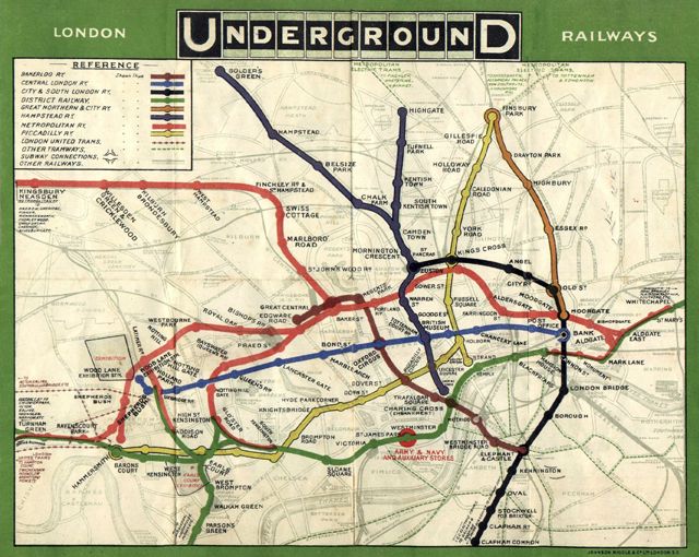 Harry Beckの発明以前、1908年の地下鉄路線図。Wikipedia「ロンドン地下鉄路線図」より。