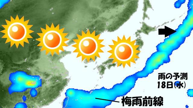 今週半ばからは、梅雨入りした沖縄・奄美をのぞいて、晴れつづき