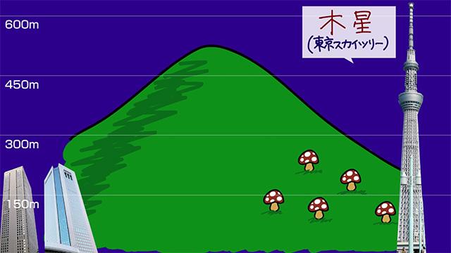 スカイツリーより山の方が大きく見えてしまってる