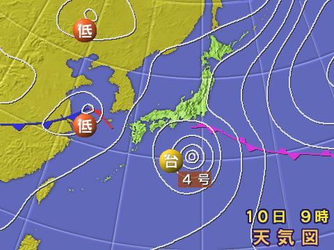 2005年6月10日。気象庁天気図