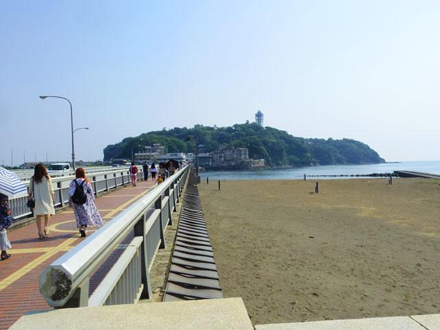 向こうに見えるのが江ノ島だ