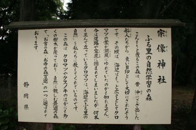 神社の説明が書いてあるけど、「女体の森」については何も書いていない