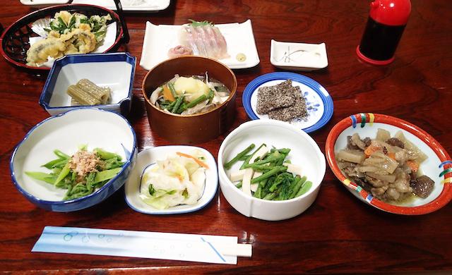 岩魚、山菜、熊、このほかにコウタケの炊き込みご飯がちょっとどうかというくらい香り高くて美味。