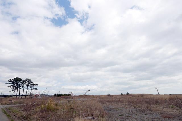 荒野のような平地が延々と……。殺風景すぎて不安になってくる。空がこんなにも広く見える