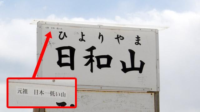 かつては「日本で二番目に低い山」だった日和山は、「元祖・日本一低い山」を名乗っていた(天保山が地図に載る前は、日本一低い山だったため)。その名称は今も看板にひっそりと残っている