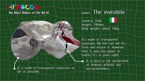 イタリアのジ・インビジブル。透明の素材を使用、開発者は「誰も姿を見ることができない」と主張するが実際は見てのとおりである。