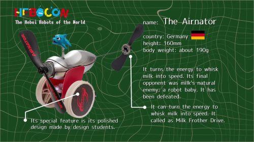 エアネーターはドイツのロボット。ミルクをあわ立てる機械を使用。運だけで3回戦まで勝ち残るも、ミルクの天敵である赤ちゃんロボに敗退。