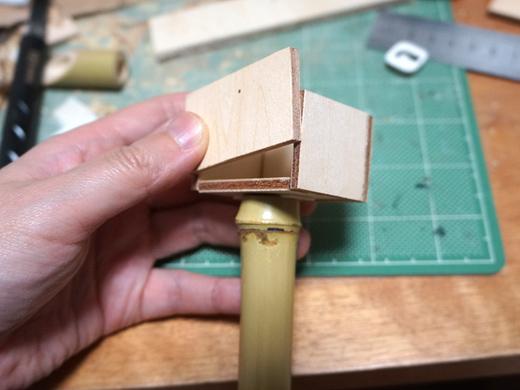下の竹は単なる支えなので、管が繋がっているわけではない。