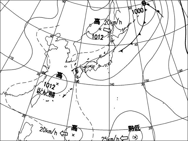 気象庁天気図。2007年7月29日。