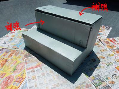ポイントは、台の大事な部分に同じ大きさのダンボールを2枚ずつ貼って補強したところだと思う。