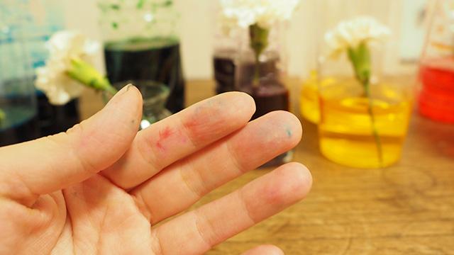 ちなみに染料の粉はほんのちょっとでもすごい着色効果。うっかり台所に粉をこぼしてしまって床がドピンクに染まってしまった。すぐに拭けば落ちるけど、気を付けよう。