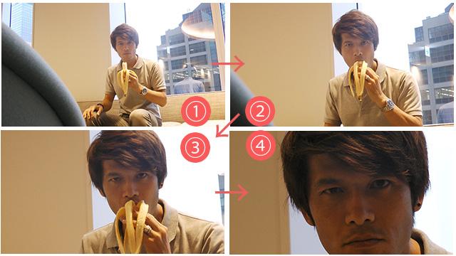 写真8-1~4.アンケート結果によると「迫力がある」「バナナが好きな人だと思った」「何事にも一生懸命な人という印象を受けた」「ゴリラかもしれない」など