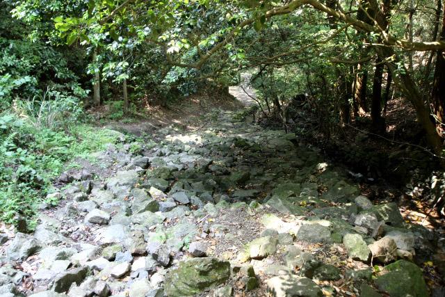 さらに下っていくと、石畳が崩れたのだろうか、岩がごろごろで少々歩きづらい