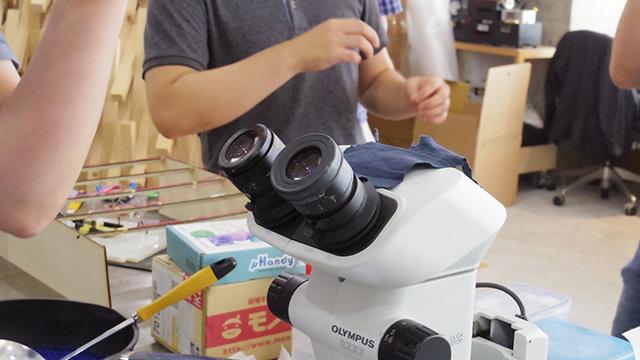顕微鏡の上に僕の裾