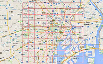 東京のこのエリアを10㎝角で100分割。1区画約1万円。100万円で1m角の大きな3Dジオラマが出来ます。