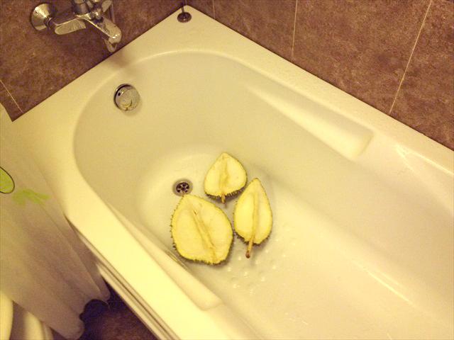 ドリアンは水洗いをするためにバスタブに置いた。