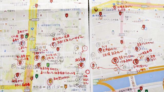 ちなみに大阪では、梅田~本町にかけてのオフィス街が、私設ポストの密集地帯となっている。丸印が全部そうで、狭い範囲にこんなにあるとは想像だにしてなかった
