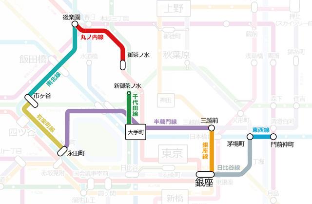 こういう経路で嗅ぎ回りました。(@hashcc さんによる東京の鉄道路線図を元にしました。地下鉄以外を削除してしまったので元図のすばらしさを活かせていませんが)
