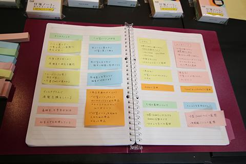 『付箋ノートが作りやすいふせん』を貼ったノート。スッキリしてる。