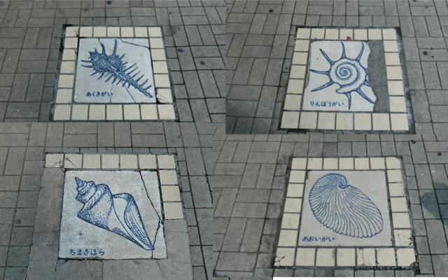 歩道に描かれた貝たち。