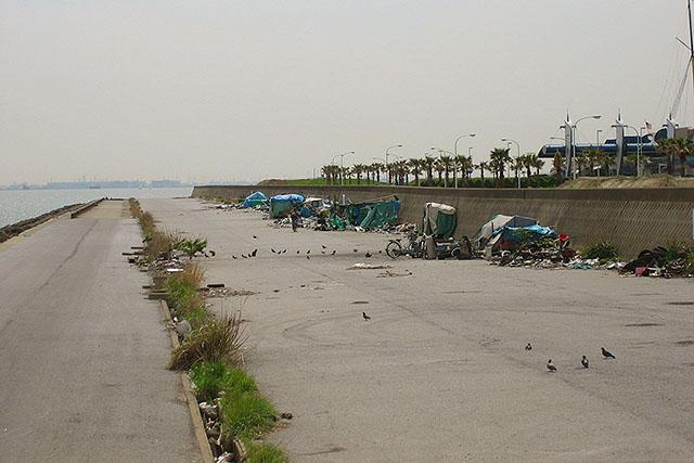 2005年のリゾート外縁。人も生き物も多かった。防波堤が作り替えられているので、工事の時に退去となったのだろう。