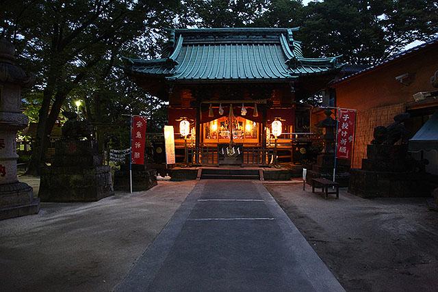 夜の清瀧神社。秋に銀杏を拾いに来たことがある。