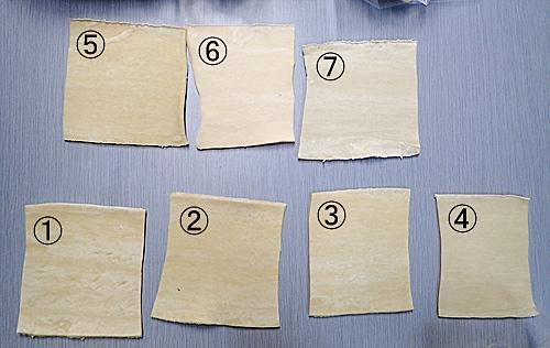 (6)が白いのは、中華麺ではなくうどんの生地だから。表面の滑らかさや持ったときの柔らかさが微妙に全部違う。