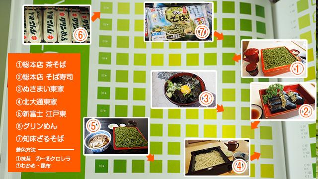 釧路で出会った緑麺のカラーチャート。ぜひ参考にしてください。