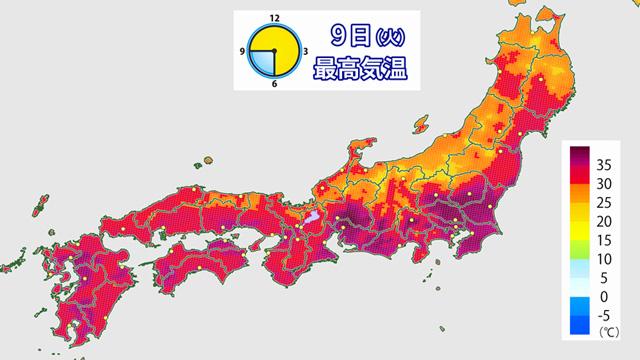 火曜(9日)の予想最高気温。紫が35℃以上。高温という病に、列島がむしばまれているようにも見える。