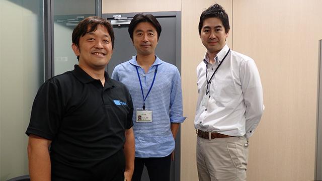 左から堀江織物の堀江さん、アルファの宮内さん、津田さん