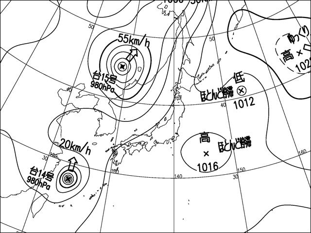 気象庁天気図。2012年8月29日。