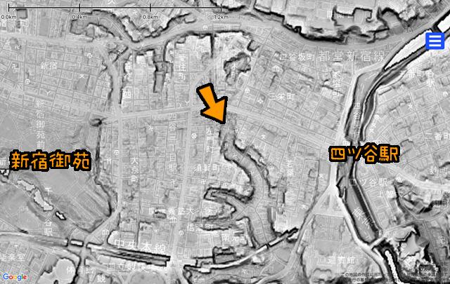 矢印がY字路。谷は川の流れの跡だということが分かる(同じく国土地理院「基盤地図情報数値標高モデル」5mメッシュをカシミール3D スーパー地形セットで表示したものをキャプチャ・加筆加工)。