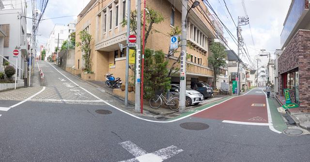 暫定最高事例のY字路の左の道(東)を下っていった先にある道。左がのぼり、赤坂川に沿った右はじんわりと下り。良い感じ。しかしここは十字路。残念。